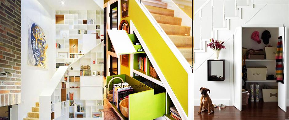Polcrendszer a lépcső alatt – praktikus és szép