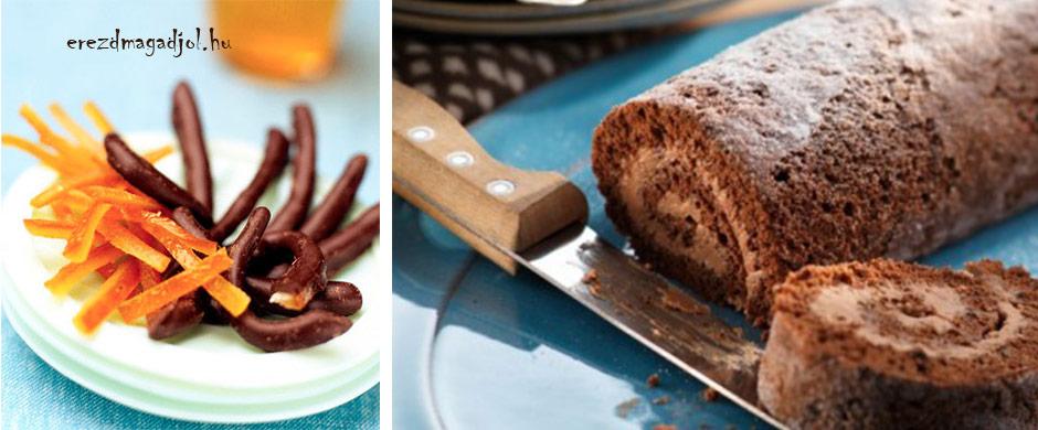 Csokis-narancsos piskóta tekercs diétásan