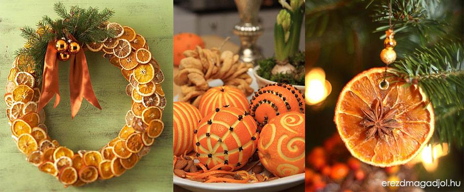 Karácsonyi narancsos dekoráció