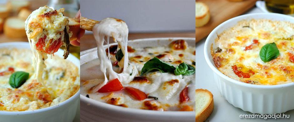 Forró Caprese mártogatós – mediterrán, sajtos élvezet