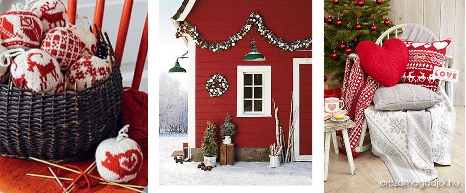 Skandináv karácsonyi stílus- jó sok pirossal