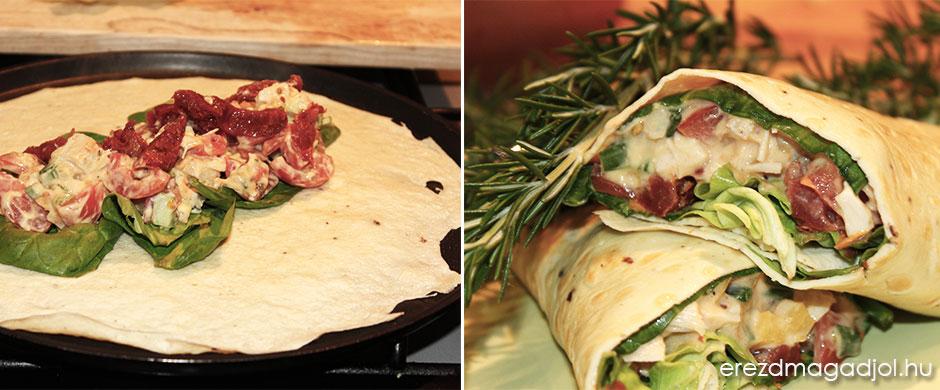 Csirkesalátás tortilla tekercs – diétás reggeli vagy vacsora