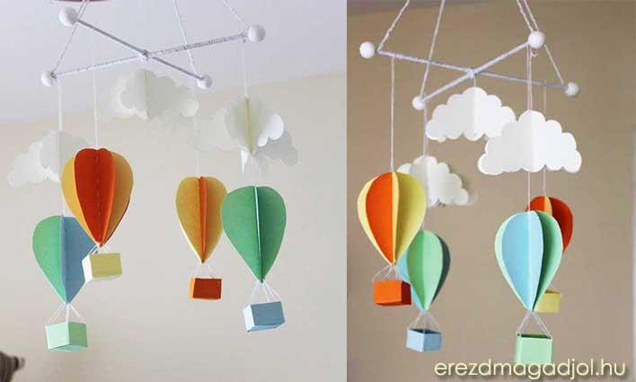 DIY hőlégballonos papír forgó – gyerekszoba inspiráció